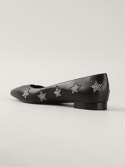 Saint Laurent Ysl Paris Patent Leather Pointed Ballerina Italy Black and Silver Studded Flats