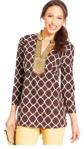 Charter Club Brown Bohemian Beaded Tunic