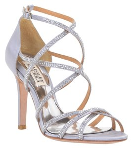 Badgley Mischka Meghan Satin Heel Silver Sandals