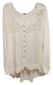 Free People Boho Flowy Top White