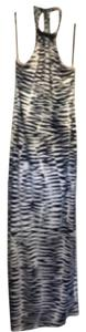 Navy and cream zebra print Maxi Dress by Trina Turk