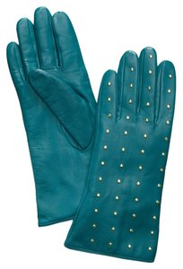 Tory Burch NEW!!! Tags Tory Burch Teal Gold Studded Leather Gloves NWT!