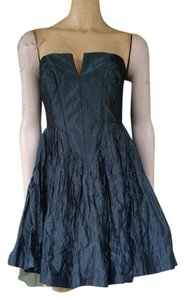 Nicole Miller Taffeta Crinkled Exposed Zipper Strapless Bomed Dress