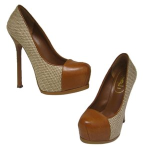 Saint Laurent Ysl Yves Trib Too Pump Camel Brown Platforms