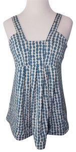 BCBGMAXAZRIA Polka Dot Pleated Top Blue & Ivory
