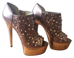 Betsey Johnson Disco Studded Peep Toe Gold Pumps