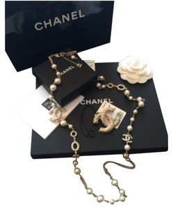 Chanel CHANEL Authentic 'Pearls Rain' Spring 2016 Necklace & Brooch Set NWT & Receipt