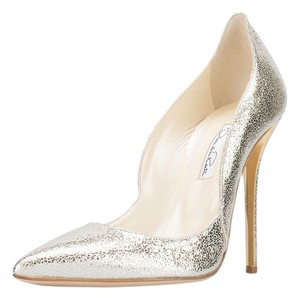 Oscar de la Renta Pewter Gold Metallic silver Pumps