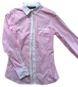 Zara Striped Print Business Work Button Down Shirt Pink and White