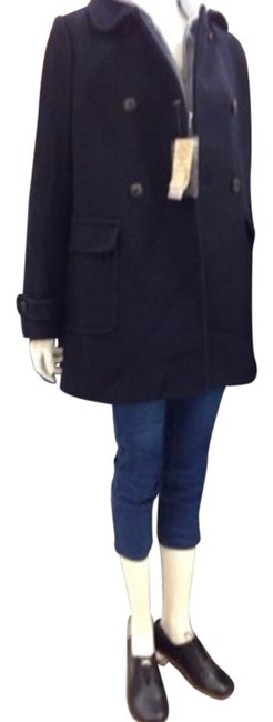 Muji Navy Mid-length Classic Double-breast Coat Size 4 (S) Muji Navy Mid-length Classic Double-breast Coat Size 4 (S) Image 2