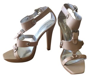 Jessica Simpson Buckle Heels Nude Pumps