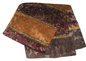 100% SILK SCARF * BROWN/ GOLD/ BURGANDY * PAISLEY * 52
