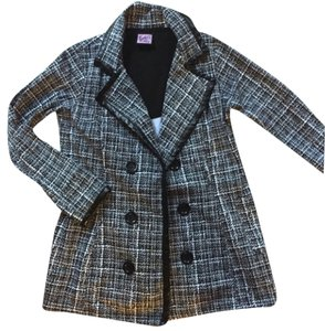 L.A. Kitty Houndstooth Print Peacoat Comfortable Black and White Jacket
