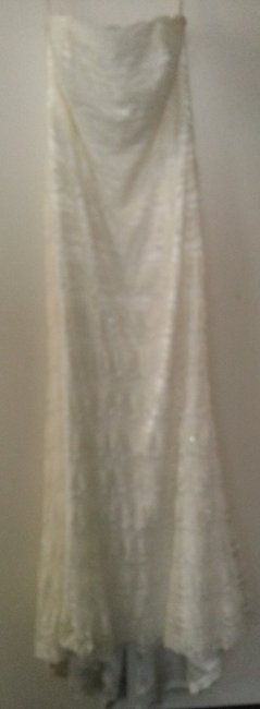 Item - Ivory Nylon Beaded Lace Sheath with Godet Insert Feminine Wedding Dress Size 12 (L)