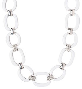 Carol Dauplaise WHITE & RHODIUM EPOXY CHUNKY LINK CHAIN RHINESTONE PAVE Necklace