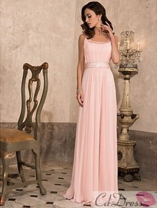 Candy Pink Tempting Empiere Scoop Floor-length Chiffon Prom Dress Dress