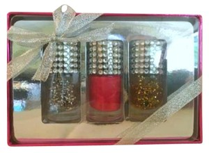 Glitter nail polish Nail polish gift set of three, iridescent red, gold, silver glitter