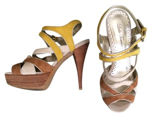 Lulu Townsend Strappy Suede Multi Color: Tan, Yellow, Cream Sandals