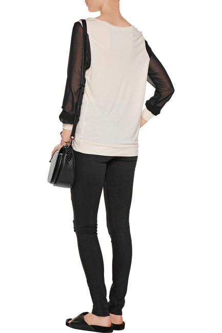 Haute Hippie Chiffon Color-blocking Sheer Longsleeve Tunic