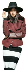 BCBGMAXAZRIA Fur Leather Cropped Motorcycle Jacket
