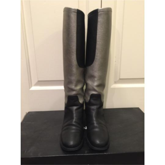 Chanel Riding Flat Leather Moto Blac Boots