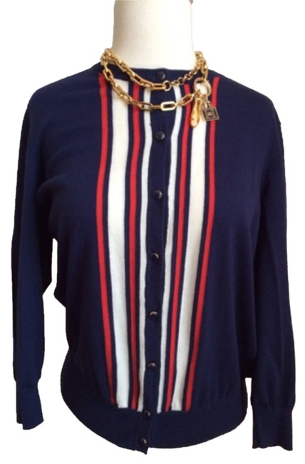 Preload https://img-static.tradesy.com/item/10534021/new-york-and-company-navy-enamel-buttoned-cardigan-size-12-l-0-1-650-650.jpg