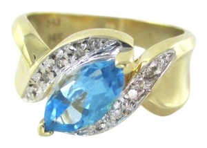 SJP 14K YELLOW GOLD RING BLUE TOPAZ 4 DIAMONDS .08 CARAT WEDDING BAND ENGAGEMENT