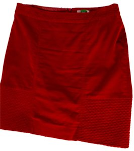 Anthropologie Pencil Corduroy Skirt red