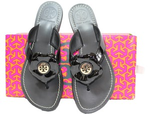 Tory Burch Patent Leather 7.5 Flats Travel Beach Vacation Floral Flower Gold Thong Nib New Box New Nib Gold Logo Nwt Tags Black Sandals