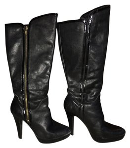Steve Madden Patent Leather Zip-up Stacked Heel Tread Black Boots