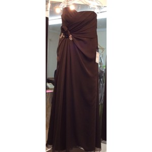 Enzoani Mocha Chiffon B12 New Formal Bridesmaid/Mob Dress Size 14 (L)