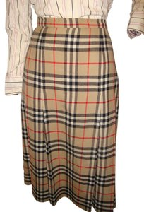 Burberry Pleated Wool Skirt Plaid
