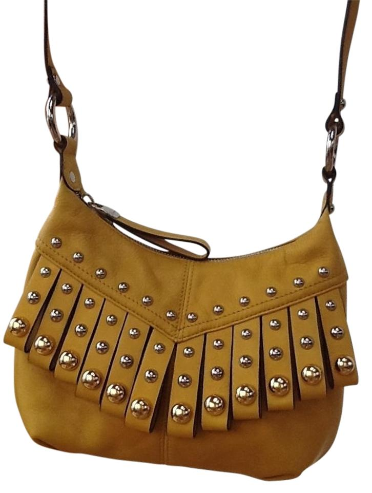 B Makowsky Las Vegas Adjule Strap Fringe And Studded Detail Cross Body Bag