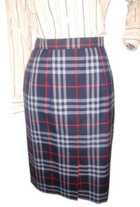 Burberry Pencil Size 4 Skirt Blue plaid