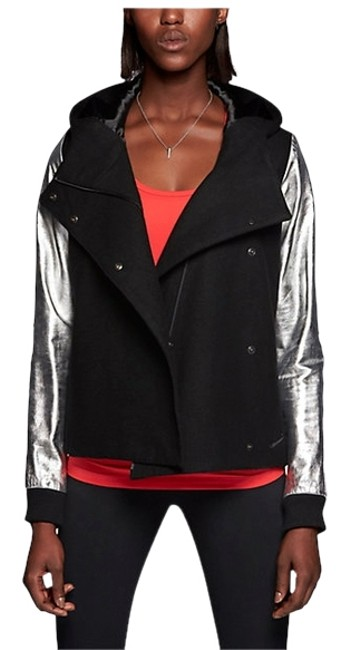 Nike Leather Sleeves Leather Wool Asymmetrical Black and Sliver Jacket