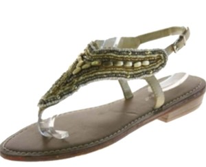 BCBGeneration Tan, gold silver beading Sandals