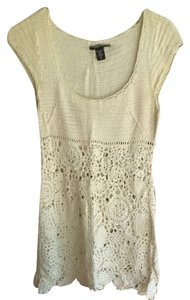 Laundry by Shelli Segal Knit Crochet Knit Scalloped Scoop Neck Beachy Cover-up Boho Bohemian Tunic
