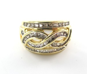 dlc 10K Yellow Solid Gold 47 Diamond Ring