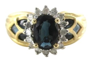 10K Yellow Solid Gold and 16 Diamonds and Blue Precious Stone