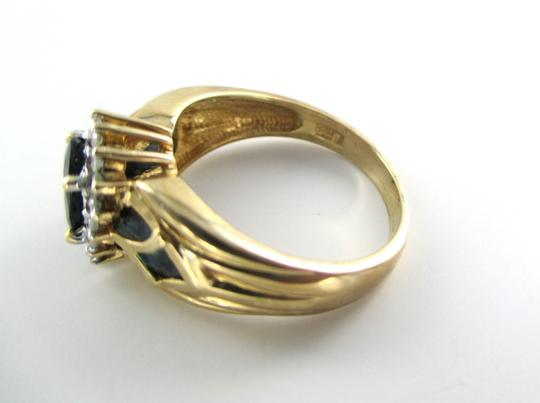 Other 10K Yellow Solid Gold and 16 Diamonds and Blue Precious Stone