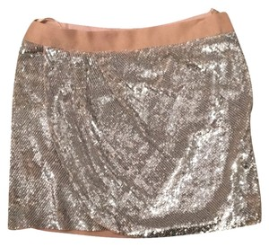 Haute Hippie Mini Skirt Beige silver sequins