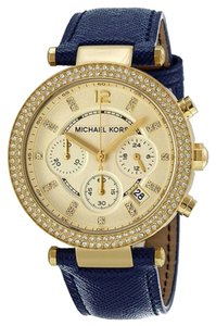 Michael Kors Gold Crystal Pave Dial Blue Leather Bracelet Ladies Watch