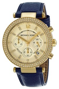 Michael Kors Blue Leather Strap Gold Champagne Dial Crystal Pave Ladies Watch