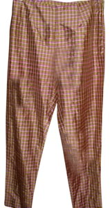 Gap Silk Cigarette Straight Leg Gingham Plaid Trouser Pants