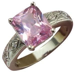 chunky pink topaz on sterling silver cocktail ring