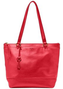 Fossil Gifting Shopper Gold Hardware Tote in Red
