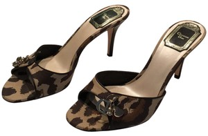 Dior Leopard Fabric Print - Black/Tan/Brown Mules