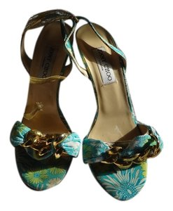 Jimmy Choo teal/yellow Sandals