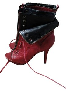 Privileged Laced Zippers Stiletto Sexy Red and black Boots