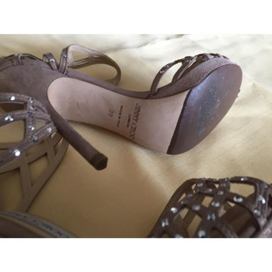 Jimmy Choo Rhinestones Stiletto Leather Suede Ankle Strap Nude Formal